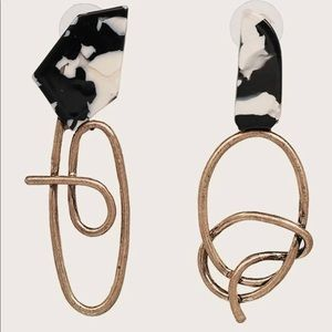 White and Black and Gold Earrings